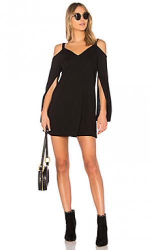 Платье с разрезами на рукавах Lanston. Цвет: черный