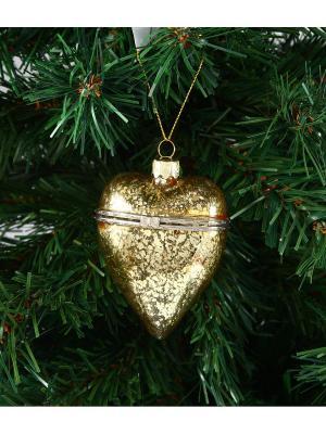 Игрушка елочная - шкатулка Сердечко Русские подарки. Цвет: золотистый