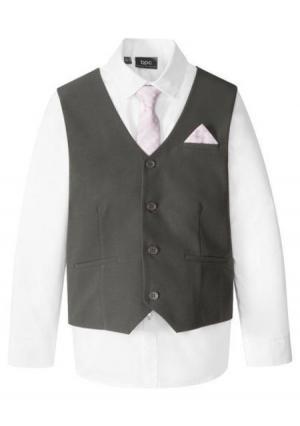 Комплект: жилет + рубашка галстук. Цвет: темно-серый/белый