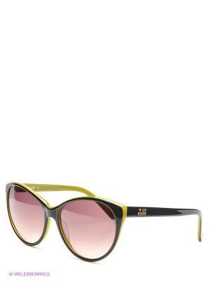 Солнцезащитные очки MOSCHINO. Цвет: черный, оливковый