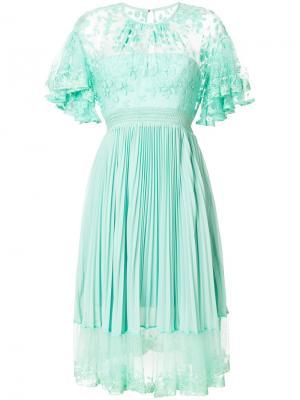 Платье Haze с плиссировкой и кружевом Three Floor. Цвет: зелёный