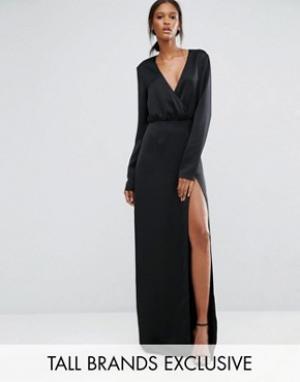 Taller Than Your Average Черное платье макси с запахом, длинными рукавами и разрезом до бедра T. Цвет: черный