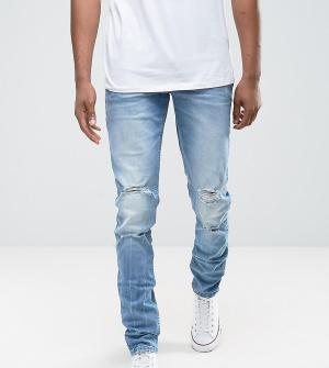 ASOS Синие выбеленные рваные джинсы скинни TALL. Цвет: синий