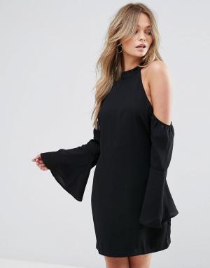 WYLDR Свободное платье мини с вырезами на плечах. Цвет: черный