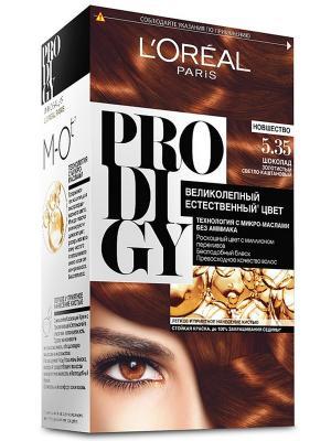 Краска для волос Prodigy без аммиака, оттенок 5.35, Шоколад L'Oreal Paris. Цвет: рыжий
