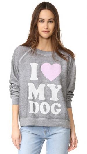 Толстовка Must Love Dogs Wildfox. Цвет: прожженный меланжевый