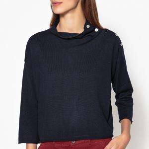 Пуловер на пуговицах с рукавами 3/4 MAJIKA HARRIS WILSON. Цвет: темно-синий