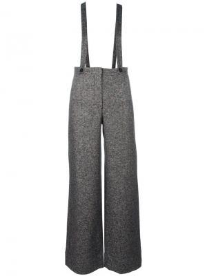 Расклешенные брюки на подтяжках Roberto Collina. Цвет: многоцветный