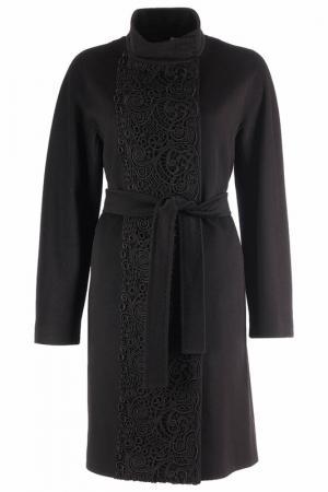 Пальто с высоким воротом HERESIS. Цвет: черный