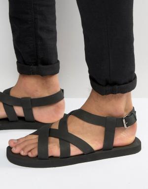 ASOS Черные нубуковые сандалии с перекрестными ремешками. Цвет: черный