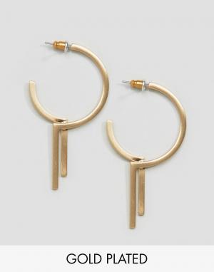 Pilgrim Позолоченные серьги-кольца. Цвет: золотой