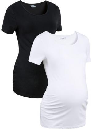 Мода для беременных: футболка из биохлопка  (2 шт.) (черный + белый) bonprix. Цвет: черный + белый
