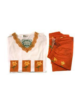 Пижама женская La Pastel. Цвет: оранжевый, белый