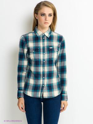 Рубашка LEE. Цвет: бирюзовый, молочный, темно-синий