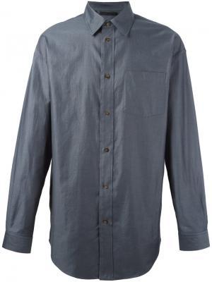 Рубашка с косым воротником Alexander Wang. Цвет: серый
