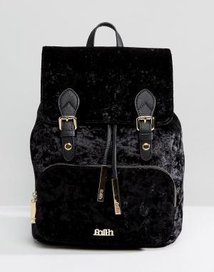 Faith Бархатный рюкзак с двумя пряжками. Цвет: черный