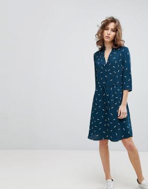Selected Платье с принтом и поясом Femme. Цвет: мульти