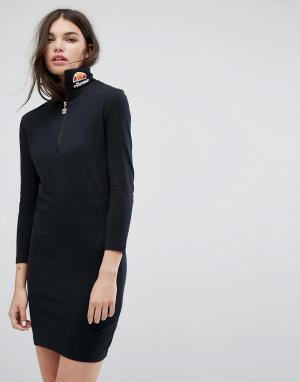 Ellesse Облегающее платье с длинными рукавами и логотипом. Цвет: черный
