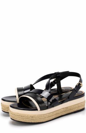 Кожаные сандалии на джутовой подошве Lanvin. Цвет: темно-синий