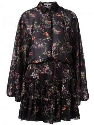Платье с цветочным принтом и рюшами Alexis. Цвет: чёрный