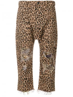 Leopard printed cropped trousers R13. Цвет: коричневый