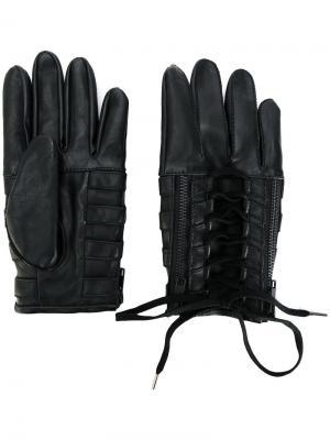 Байкерские перчатки со шнуровкой KTZ. Цвет: чёрный