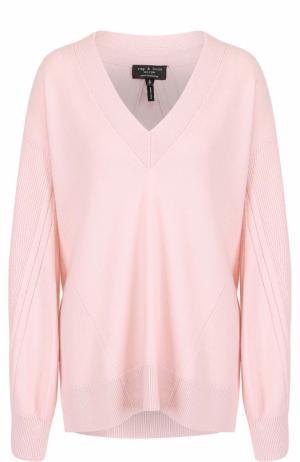Кашемировый пуловер с V-образным вырезом Rag&Bone. Цвет: розовый