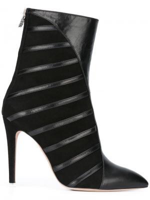 Ботинки по щиколотку в полоску Francesca Mambrini. Цвет: чёрный