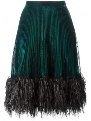 Плиссированная юбка с отделкой перьями Marco De Vincenzo. Цвет: зелёный