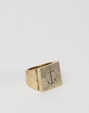 Icon Brand Золотистое кольцо с квадратной печаткой и якорем. Цвет: золотой