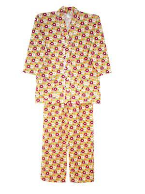Теплая пижама Тефия. Цвет: розовый, белый, зеленый