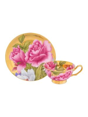Чайная пара Пионы на золоте Elan Gallery. Цвет: зеленый, белый, розовый