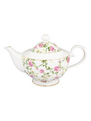 Чайник Плетистая роза Elan Gallery. Цвет: белый, зеленый, розовый