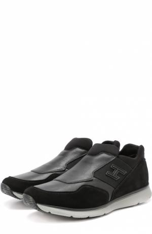 Комбинированные кроссовки без шнуровки с эластичными вставками Hogan. Цвет: черный