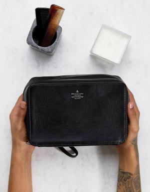ASOS Черный кожаный несессер с серебристым тиснением. Цвет: черный