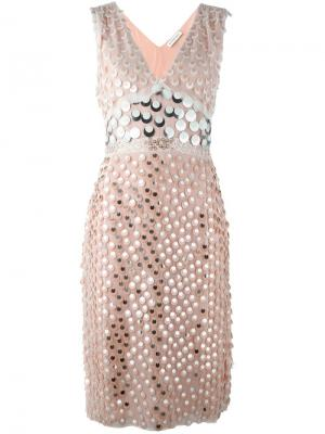 Декорированное платье с V-образным вырезом Altuzarra. Цвет: розовый и фиолетовый
