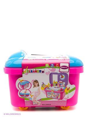 Набор для уборки в чемодане Amico. Цвет: розовый