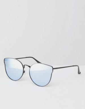 Quay Australia Черные солнцезащитные очки кошачий глаз с плоскими зеркальными стеклам. Цвет: черный