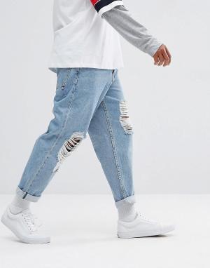 ASOS Голубые выбеленные свободные джинсы с рваной отделкой. Цвет: синий