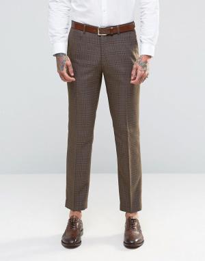 Harry Brown Клетчатые брюки узкого кроя цвета хаки в клетку. Цвет: зеленый