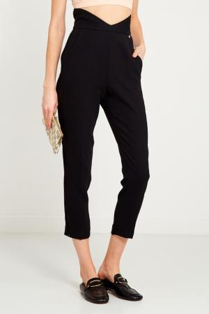 Черные брюки с кружевом Elisabetta Franchi. Цвет: черный