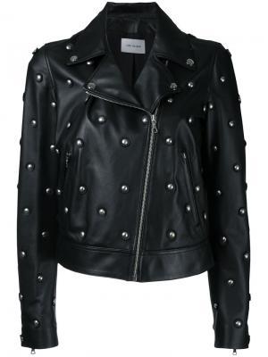 Байкерская куртка с заклепками Yves Salomon. Цвет: чёрный