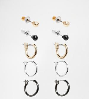 ASOS Серьги-кольца и гвоздики. Цвет: мульти