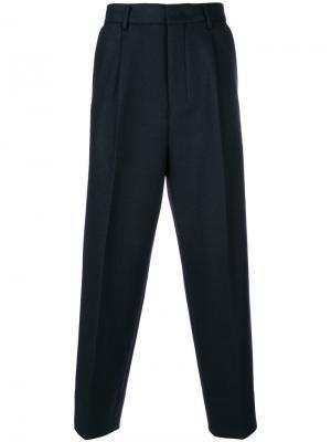 Укороченные классические брюки свободного кроя Wooyoungmi. Цвет: синий