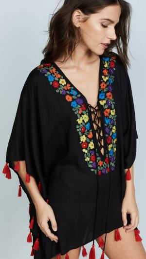 Floral Embroidery Lace Up Tunic Bindya