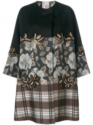 Свободное пальто в клетку с цветочным принтом Antonio Marras. Цвет: многоцветный
