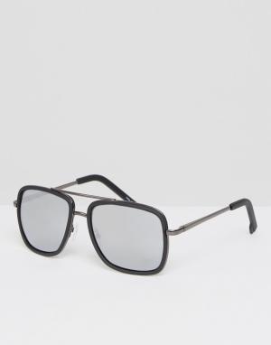 Quay Australia Солнцезащитные очки-авиаторы с зеркальными стеклами. Цвет: черный