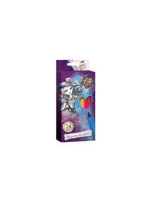 Карандаши цветные 24 цвета Ever After High фиолетовые Mattel. Цвет: фиолетовый
