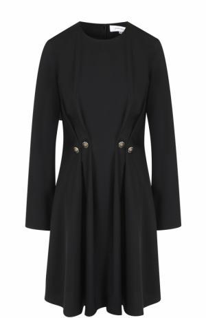 Приталенное мини-платье с защипами Carven. Цвет: черный