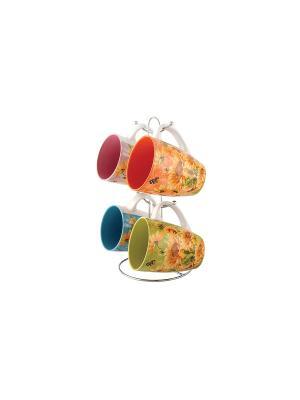 Набор кружек 1/4 на мет,Подставке Коралл. Цвет: зеленый, красный, оранжевый, синий